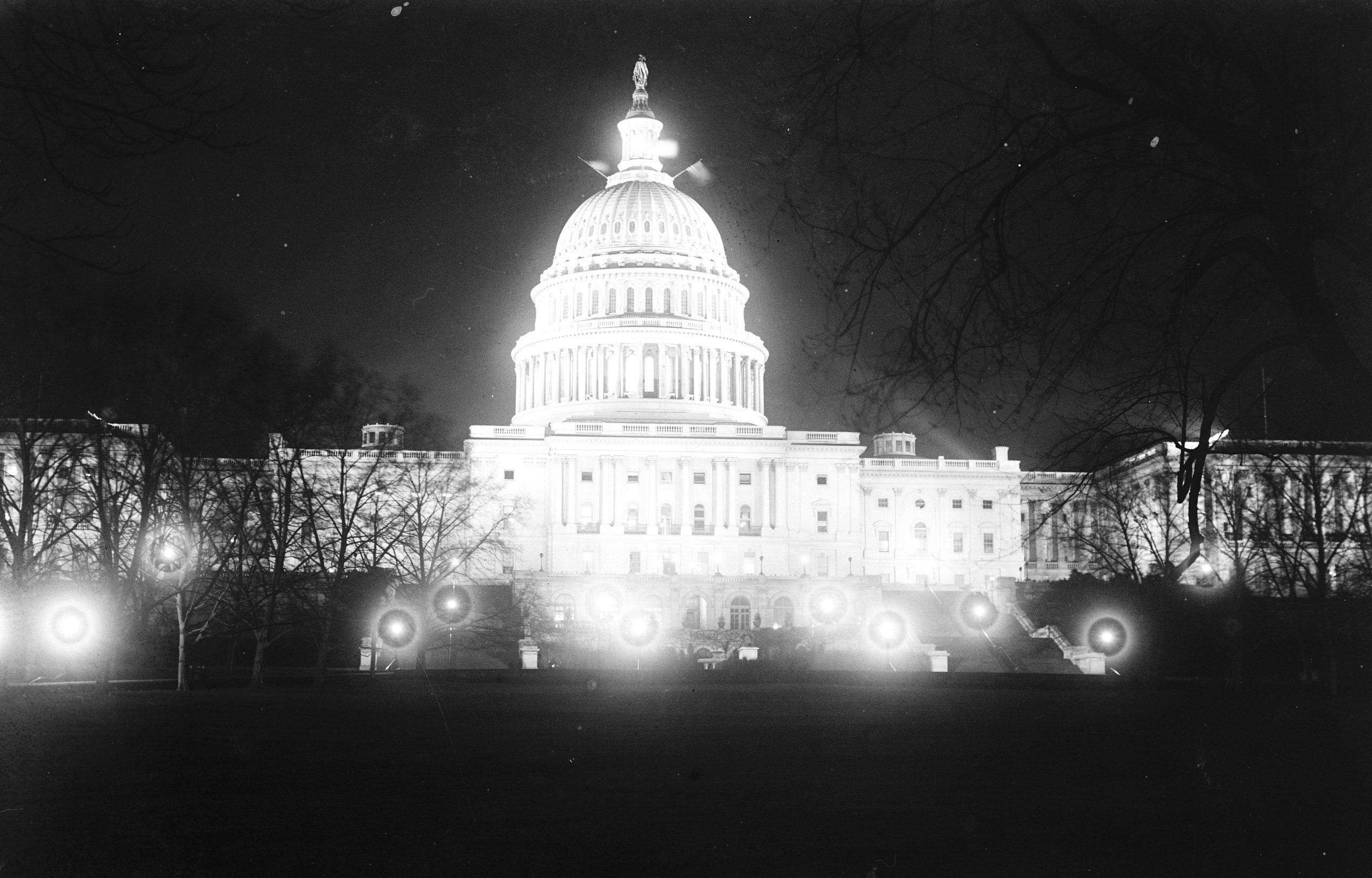 Stunning 1910s Capitol Dome at Night