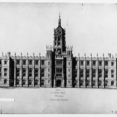 Proposed design for Smithsonian Institution Building by John Notman, north front elevation. It is a Gothic design with three stories, a central tower/cupola, crenellated embattlements, and symmetrical wings. The design was submitted for the competition sponsored by the Building Committee of the Board of Regents, December 23, 1846