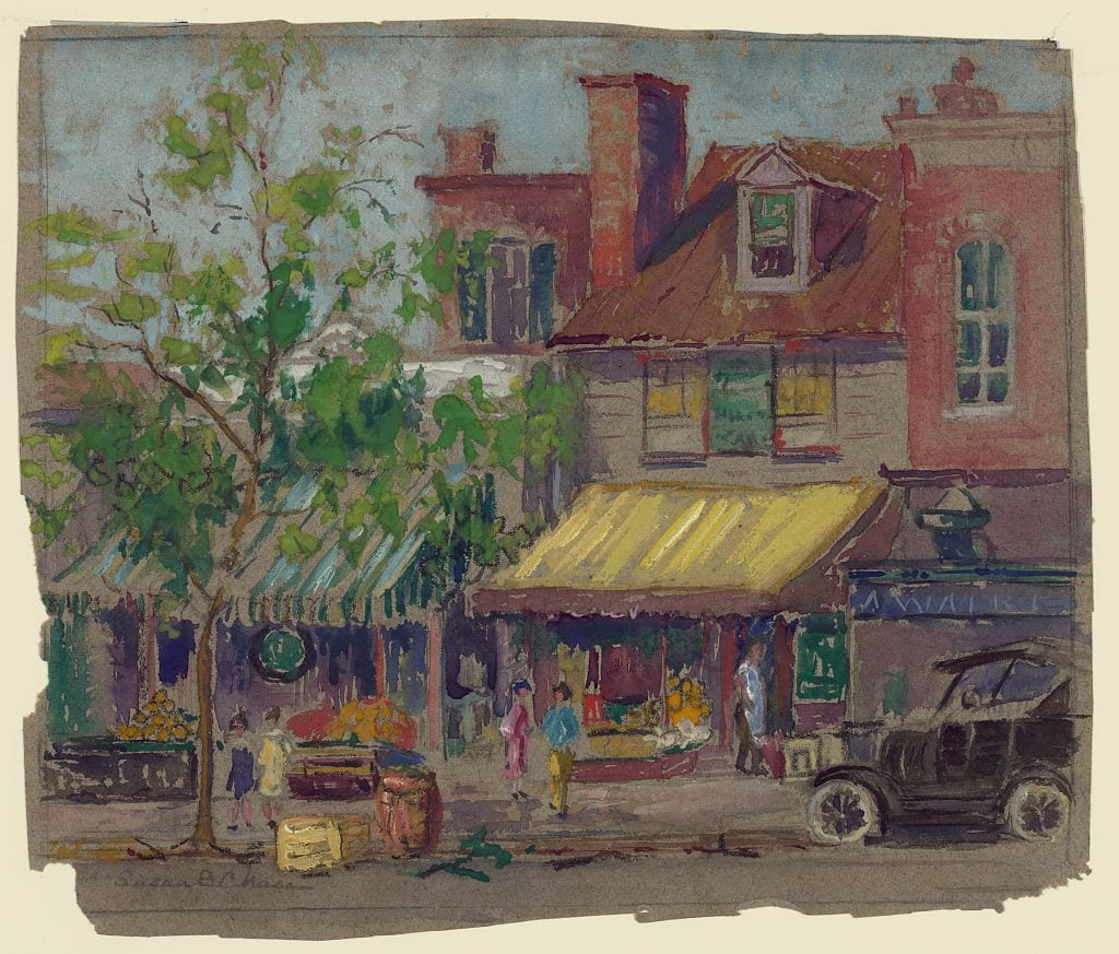 Landscape drawing shows storefronts on Pennsylvania Avenue in Washington, DC between 22nd and 23rd streets. A shopkeeper stands in the doorway of one of the buildings. Women are on the sidewalk. A car is parked at the curb.