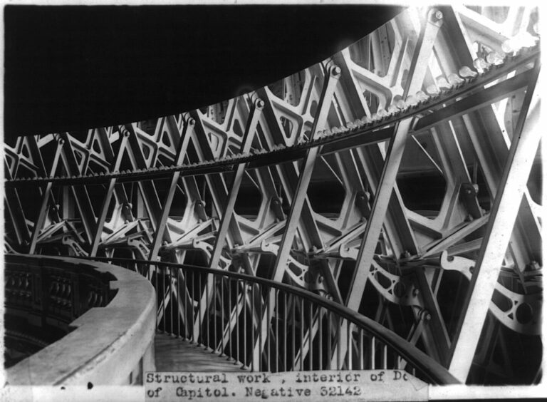 .S. Capitol interiors: detail of structural work of dome interior