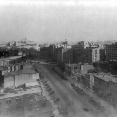 Washington, D.C., Pennsylvania Avenue, high view of the avenue looking east