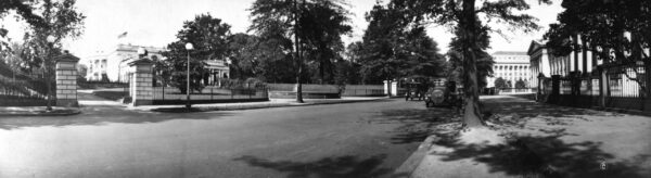 South portico of the White House as seen through entrance from East Executive Ave., N.W.