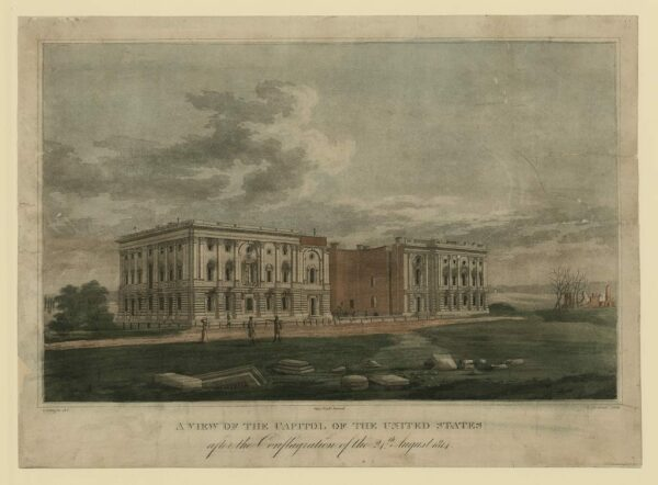Engraving of the Capitol after it was burned in August 1814