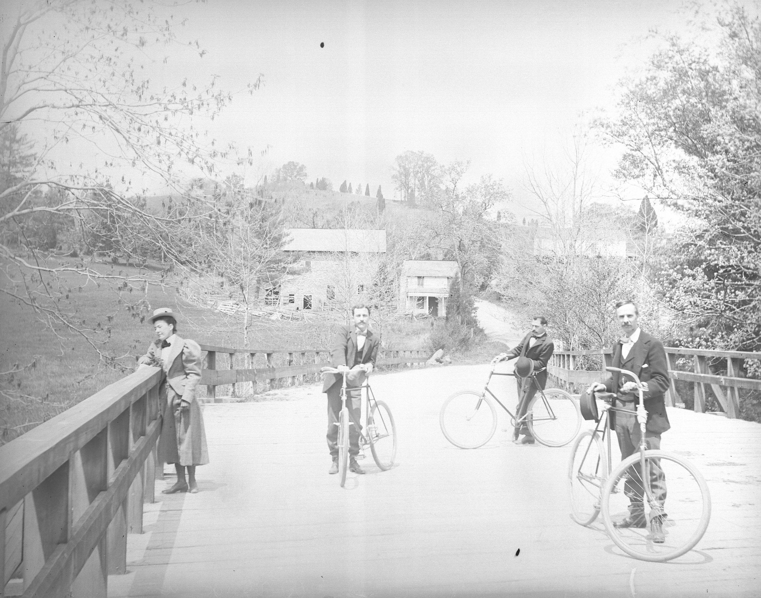 Amazing Photo of Men Bicycling Near Peirce Mill