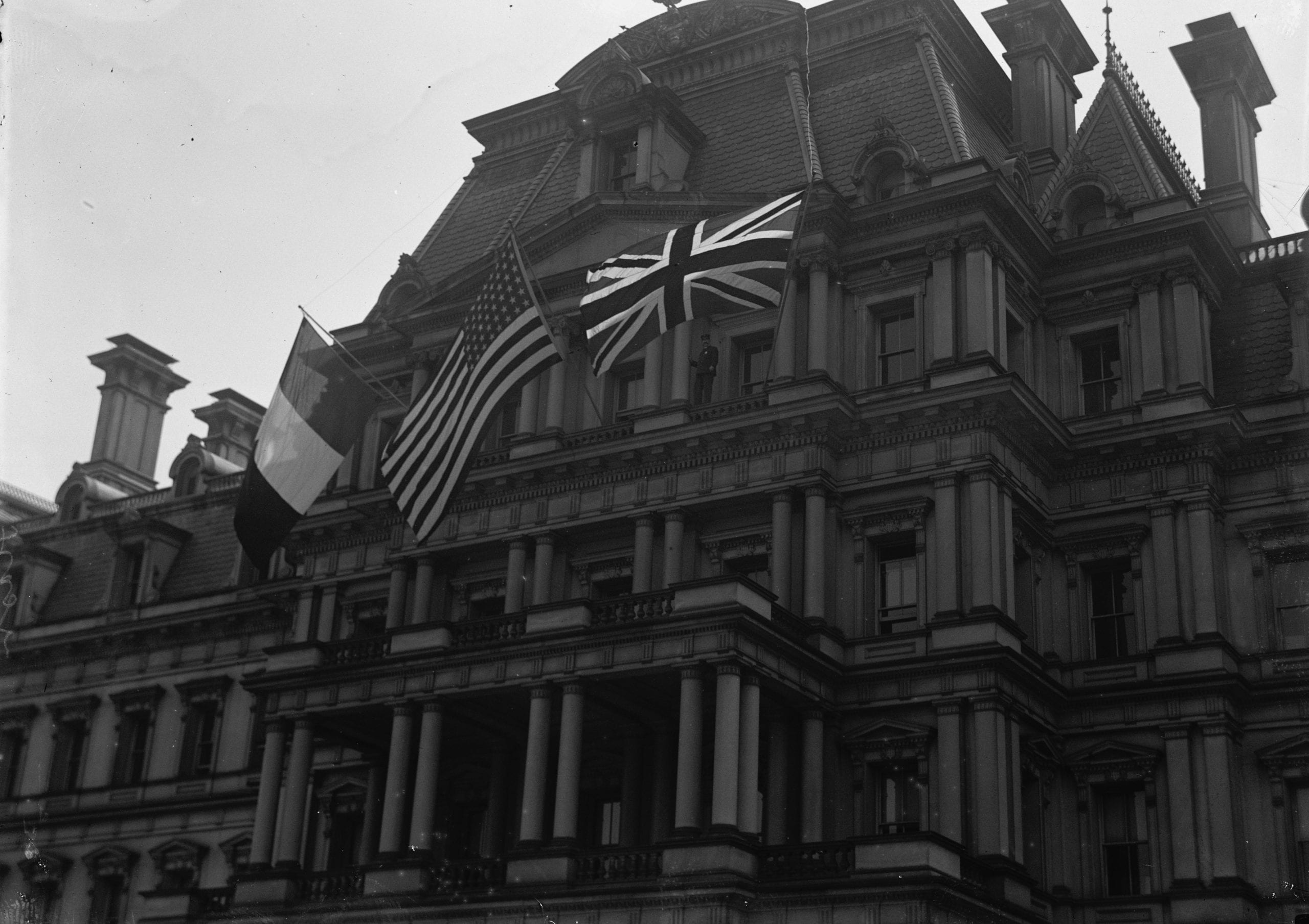 World War I Allies' Flags Flying at State, War, and Navy Building