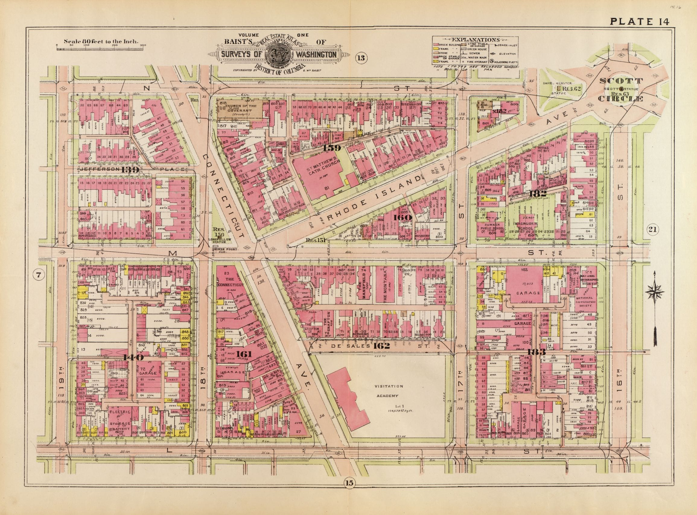 1919 map of Dupont and Farragut