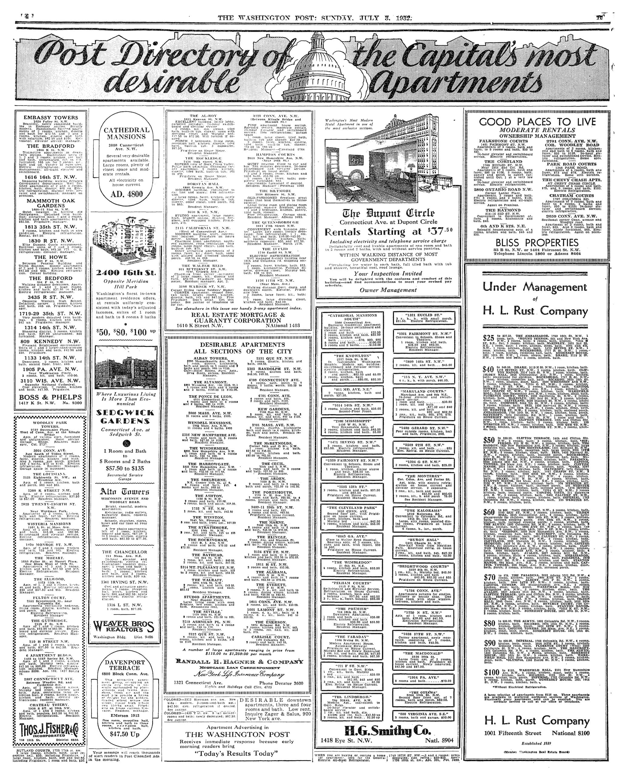 1932 Washington Post apartment listings