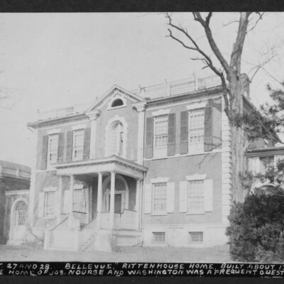 """Que Street NW between 27 and 28, """"Bellevue"""" Rittenhouse home, built about 1750, was the home of Joseph Nourse and Washington was a frequent guest here - #544"""