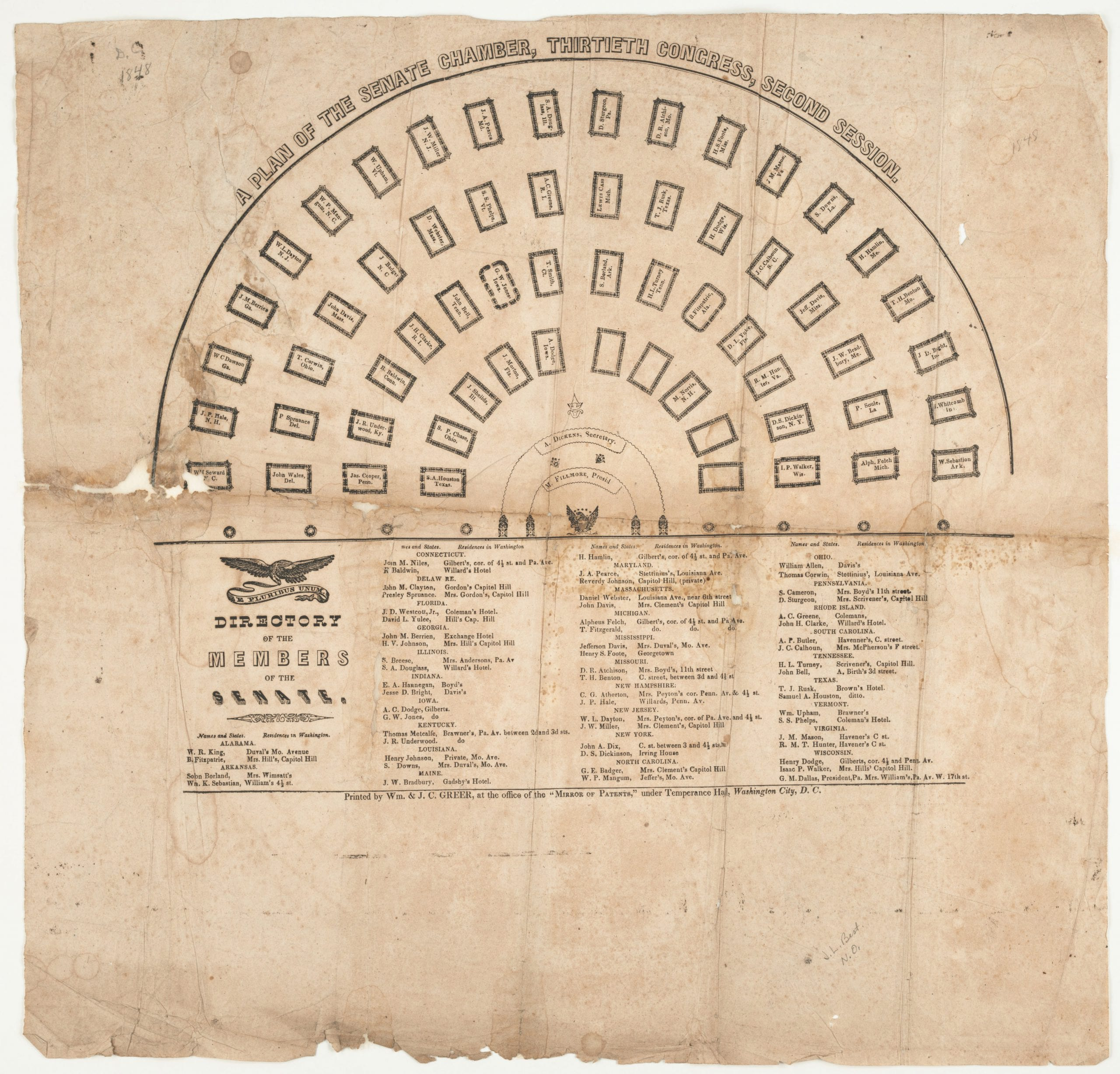1848 Plan of the Senate Chamber