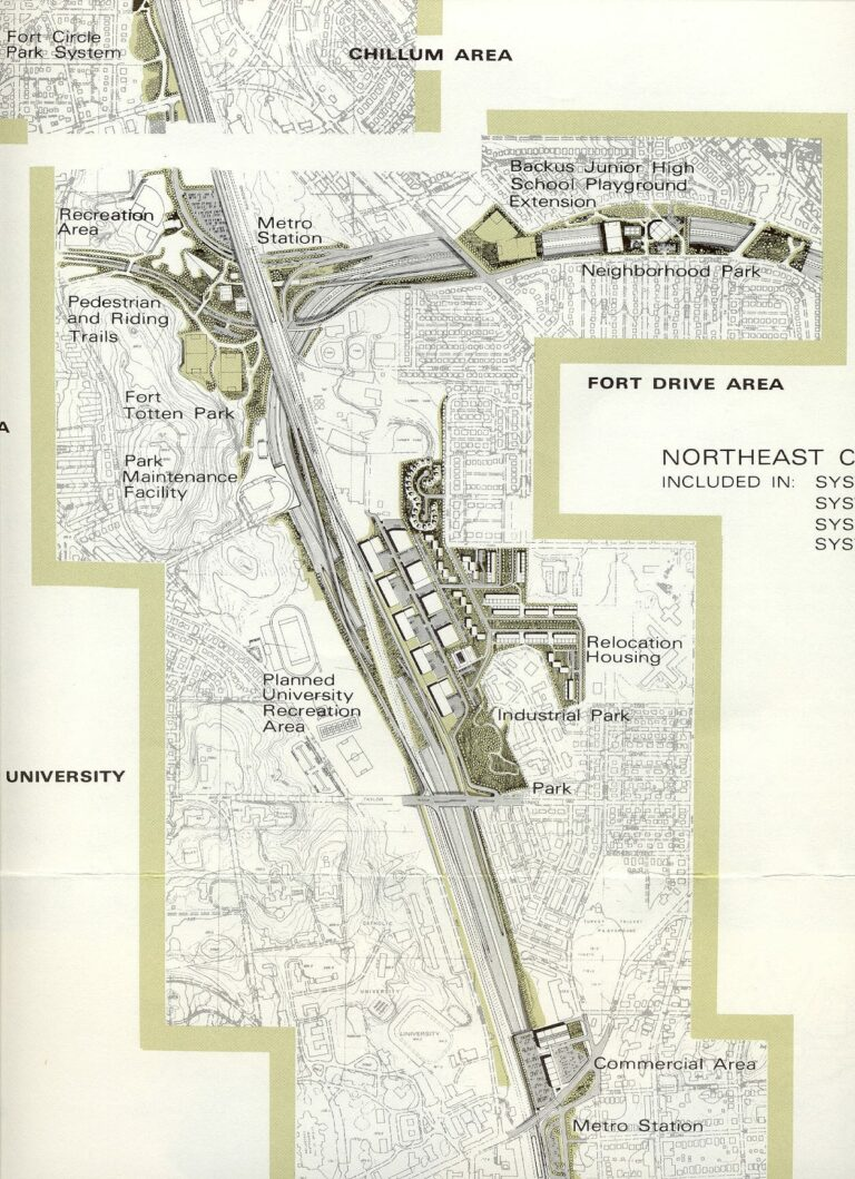 Notice the decked/tunneled section south of Fort Totten, then the over 90-degree turn to the east, then the decked/tunneled section between Galloway Street and Gallatin Street, with the Metrorail Glenmont Route (Red Line trains) following the North Central Freeway (I-95 south of Fort Totten and I-70S north of Fort Totten), and with the Metrorail Greenbelt Route (Green Line trains) following the Northeast Freeway (I-95 east of Fort Totten). The area between Galloway Street and Gallatin Street where the Northeast Freeway was proposed was mostly open fields then and still is now.