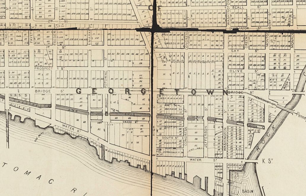 1874 Map of Georgetown's Old Street Names