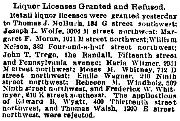 1893 liquor licenses granted - Washington Post