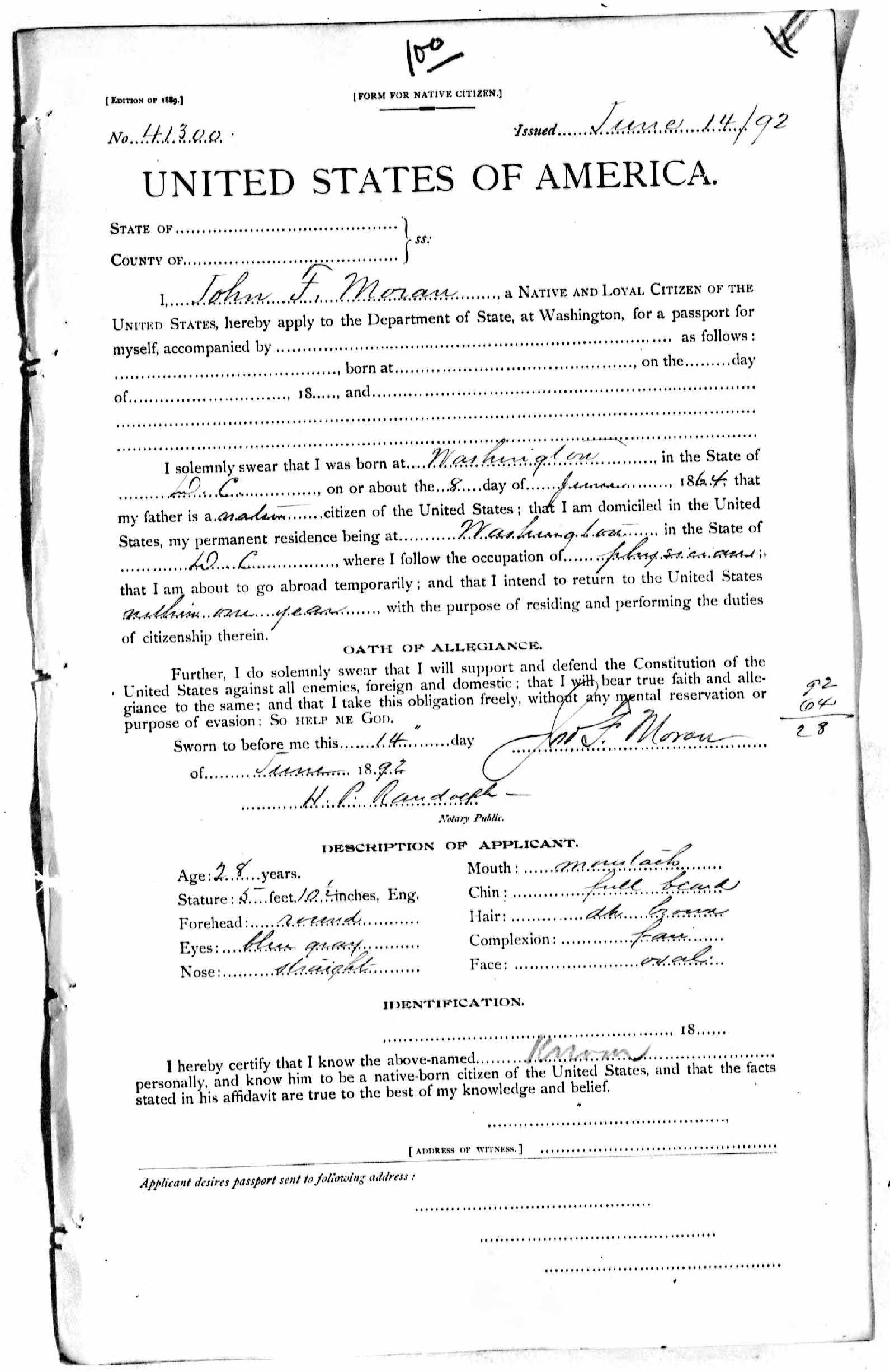 John F. Moran 1892 passport application