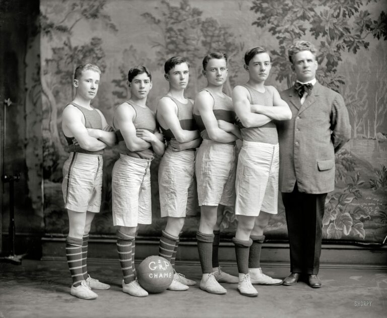 "Washington, D.C., circa 1911. ""Georgetown basketball."" Our second look at the Georgetown Preparatory School JV squad. Harris & Ewing."