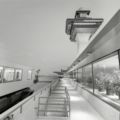 """""""Dulles International Airport, Chantilly, Virginia, 1958-63. Eero Saarinen, architect. Mobile lounge, control tower and terminal."""" All we need now is an airplane. Medium format negative by Balthazar Korab."""