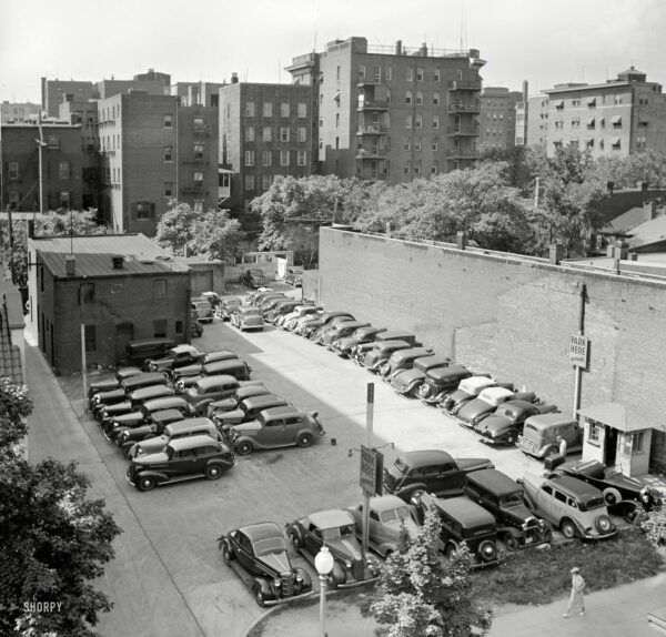 """July 1937. """"Parking lot in Washington, D.C."""" Medium-format negative by Russell Lee for the Resettlement Administration."""