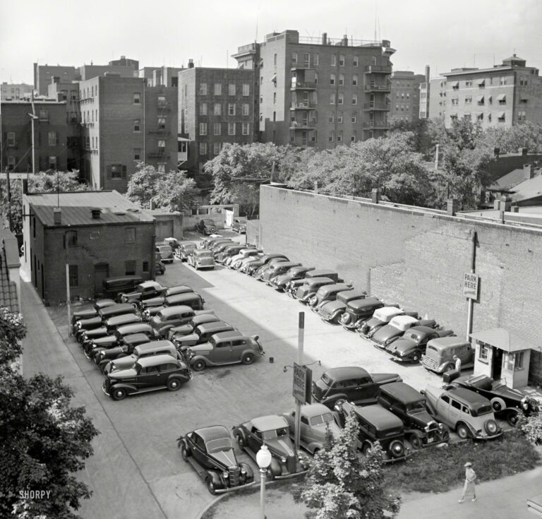"July 1937. ""Parking lot in Washington, D.C."" Medium-format negative by Russell Lee for the Resettlement Administration."