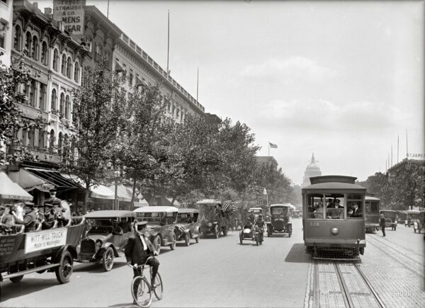 """June 28, 1919. """"Motor Truck Parade, Pennsylvania Avenue."""" Held on Motor Transportation Day under the auspices of the Washington Automotive Trade Association. At left we have another appearance on these pages by a Witt-Will conveyance. Harris & Ewing Collection glass negative."""