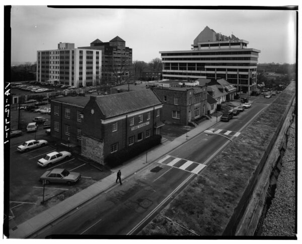 AERIAL VIEW OF WEST/FRONT AND NORTH/SIDE FACADES, LOOKING SOUTHEAST (FROM LEFT TO RIGHT): VA-1272 Ball Building, 1437 N. Court House Road. VA-1273 Jesse Building, 1423-27 N. Court House Road. VA-1276 Jesse-Hosmer Building, 1419 N. Court House Road. VA-1275 Moncure (Adams, Porter, Radigan) Building, N. 1415 Court House Road. VA-1274 Rucker Building, N. 1403 Court House Road. - Lawyers' Row Block, North Court House Road between Fourteenth & Fifteenth Streets, Arlington, Arlington County, VA