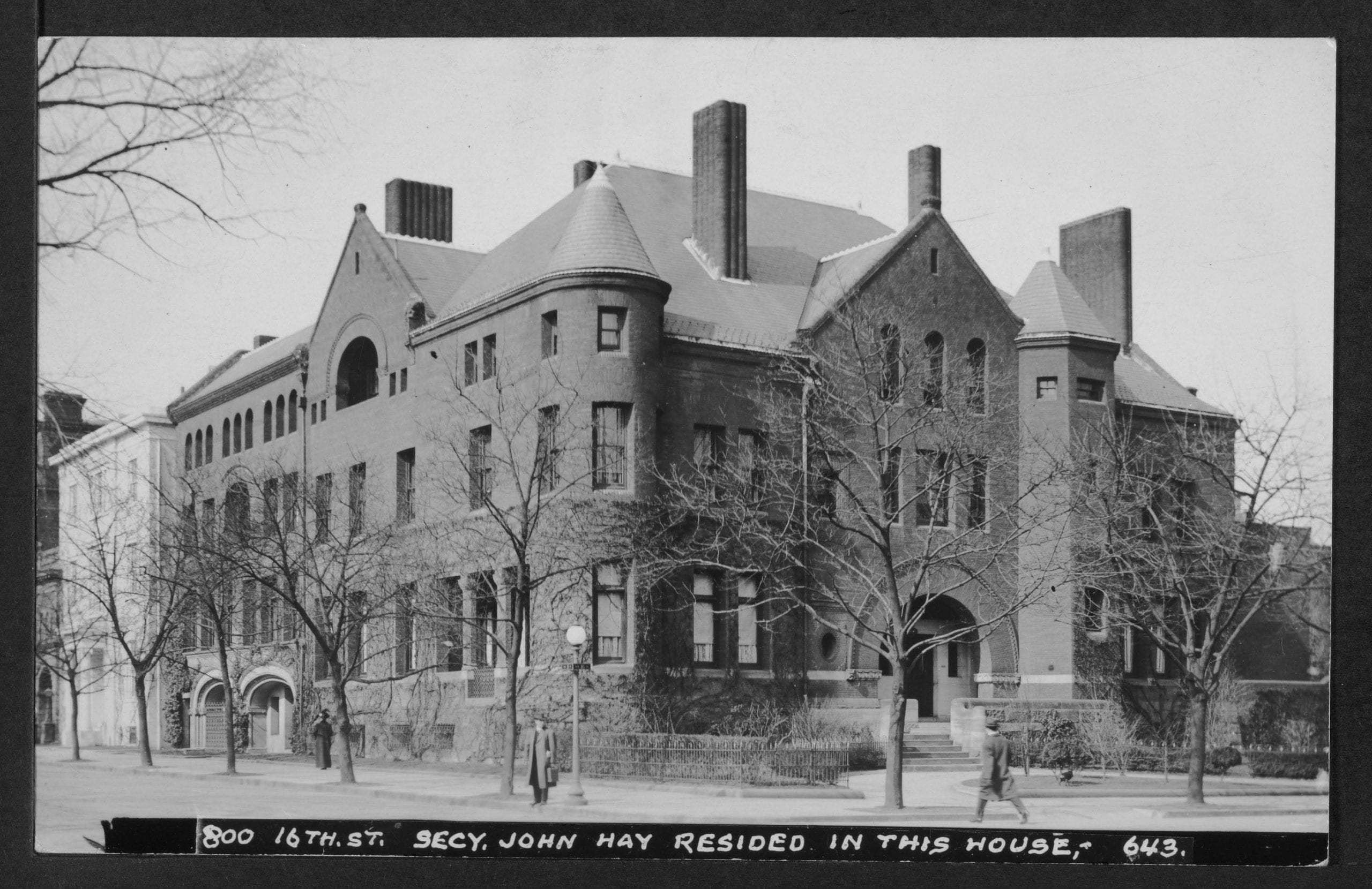 View of house at 800 16th Street NW once occupied by Secretary of State John Hay (1898-1905).