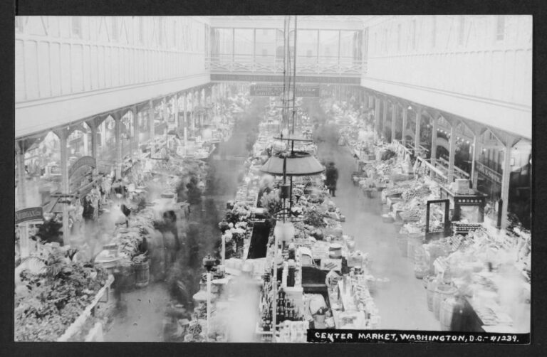 """Interior view of Center Market showing the interior architecture of the market, a variety of stalls, blurred people, and signs reading """"THIS MARKET OPEN EVERY WEEK DAY"""" and """"LADIES' WAITING ROOM LADIES'... 7th St. WING TAKE ELEVATOR."""""""