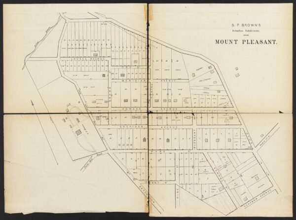 The Real Estate Directory of the City of Washington, D.C., Suburbs of Washington City, Serial Number 50 is a series of maps of recorded subdivisions beyond the city limits published by Faehtz & Pratt in 1874. Maps show streets, lot numbers and dimensions, property lines, and some building footprints. Landowners and estate names are included for large parcels. Outside of Georgetown, subdivision maps showing only property lines indicate that they were undeveloped at that time.
