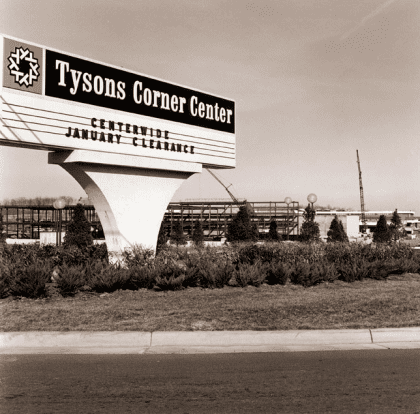 Tysons Corner Center sign in 1969