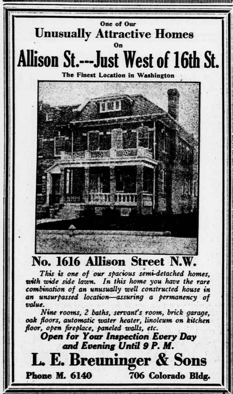 New Crestwood Home on Allison Street For Sale in 1922