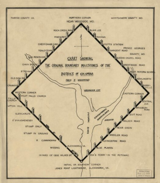 1906 map showing the original boundary milestones of the District of Columbia