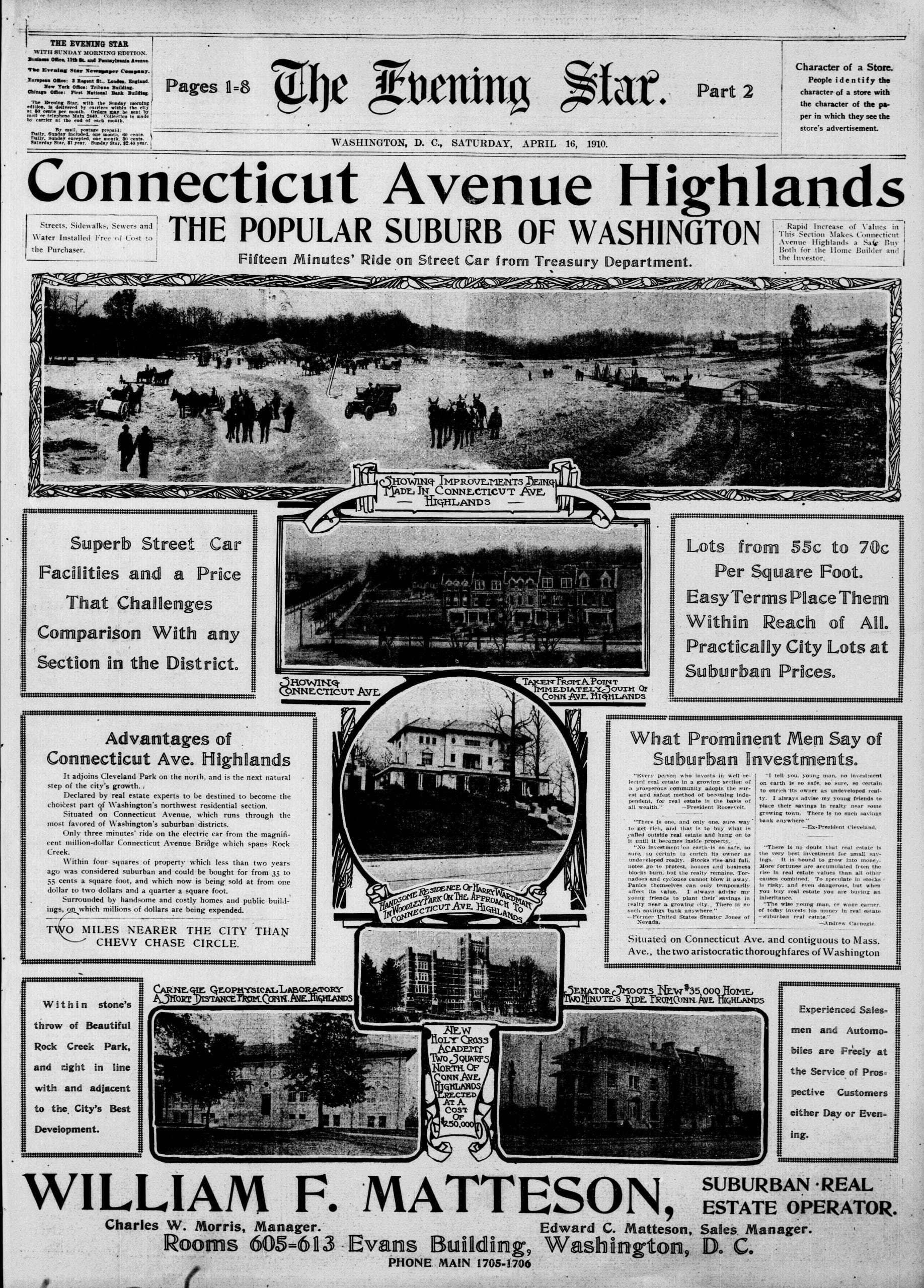 1910 Ad for Connecticut Ave. Highlands (Cleveland Park)