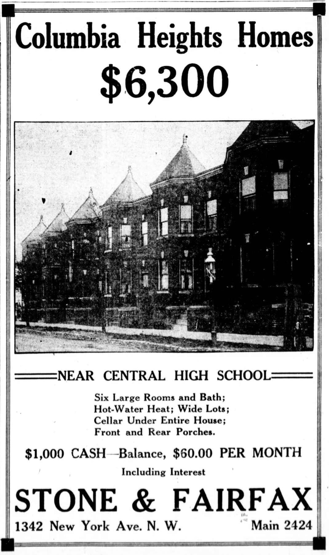 1921 Ad for Columbia Heights Homes