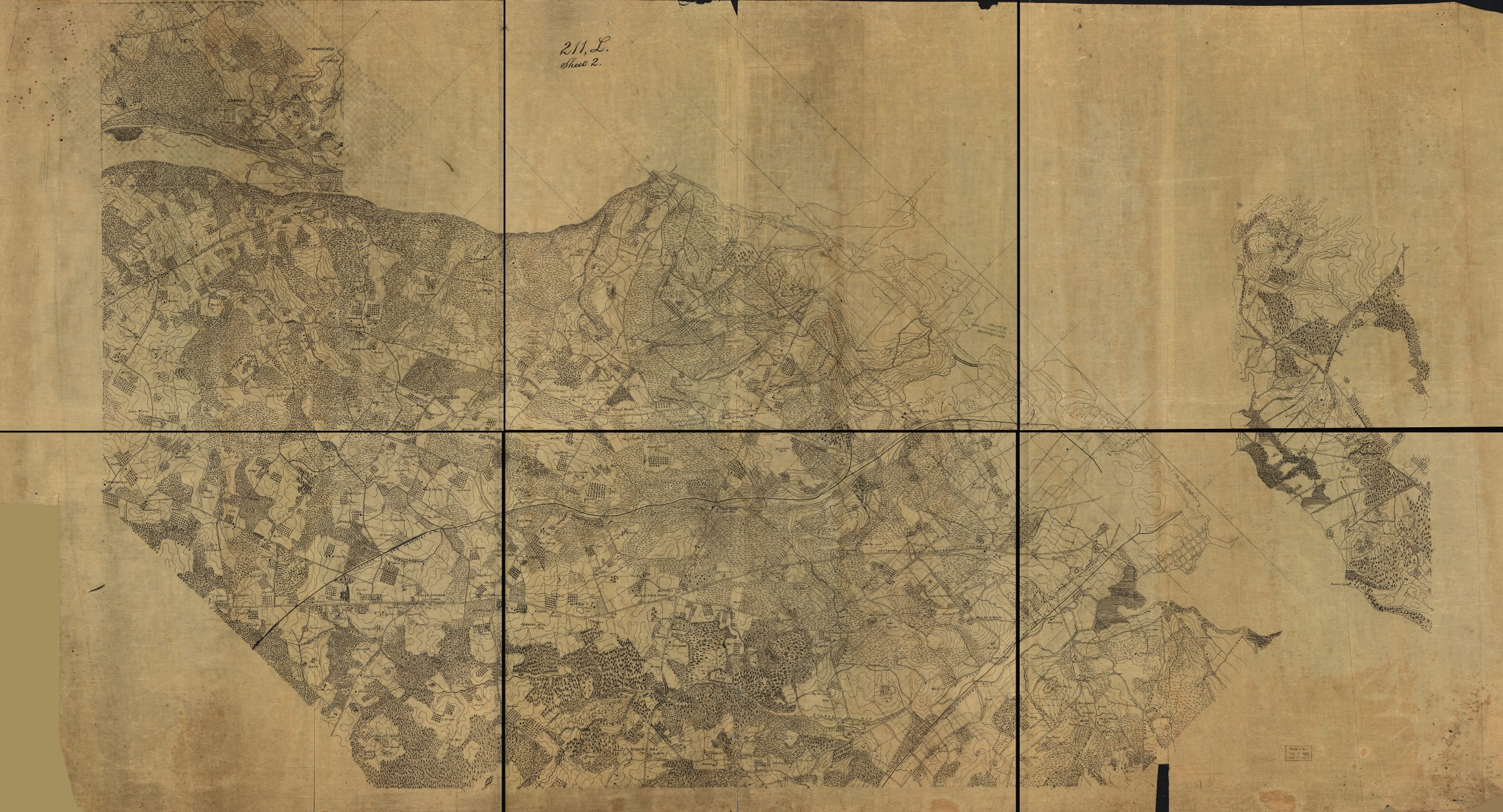 Civil War detailed map of part of Virginia from Alexandria to the Potomac River above Washington, D.C.