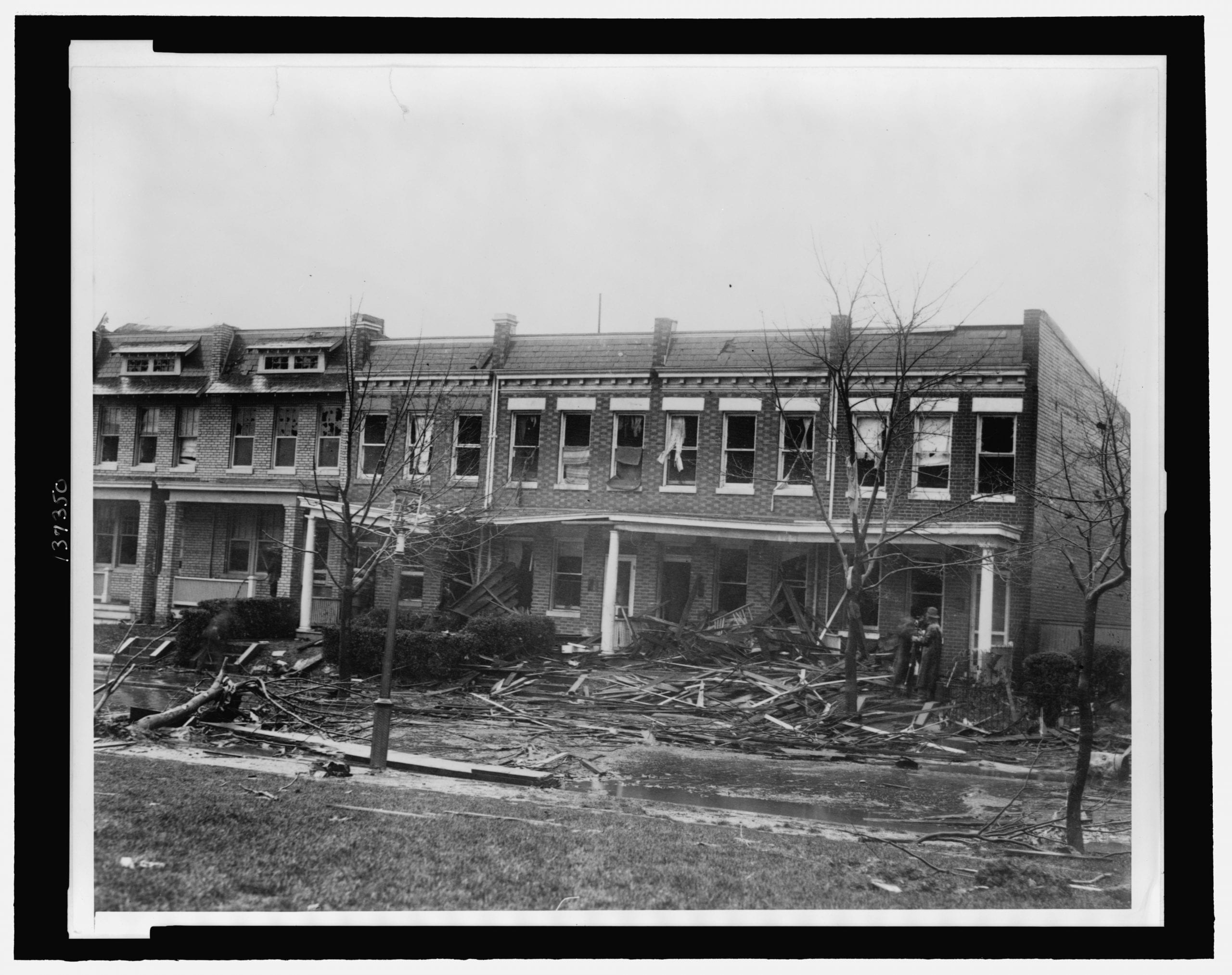 Row houses at 1216 - 1226 C St. SE, severely damaged by a tornado on Nov. 17, 1927