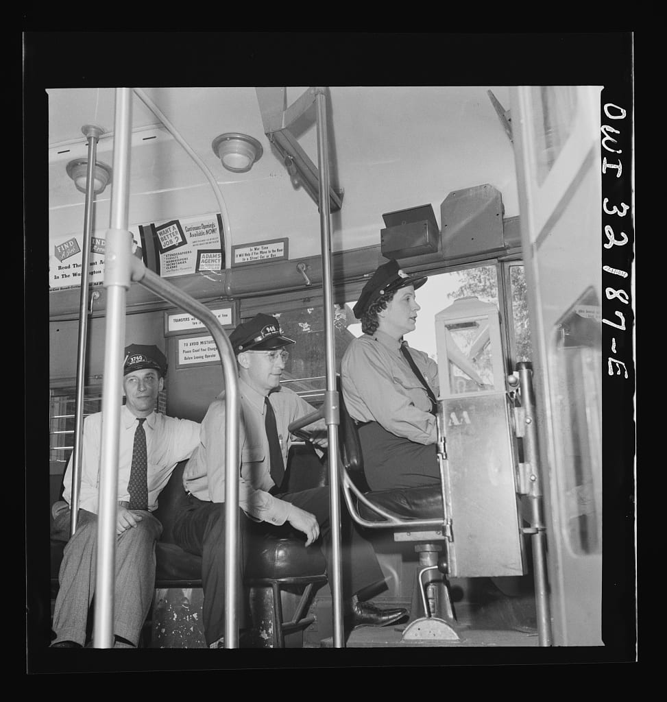 Washington, D.C. An instructor of the Capitol Transit Company teaching a woman to operate a one-man streetcar