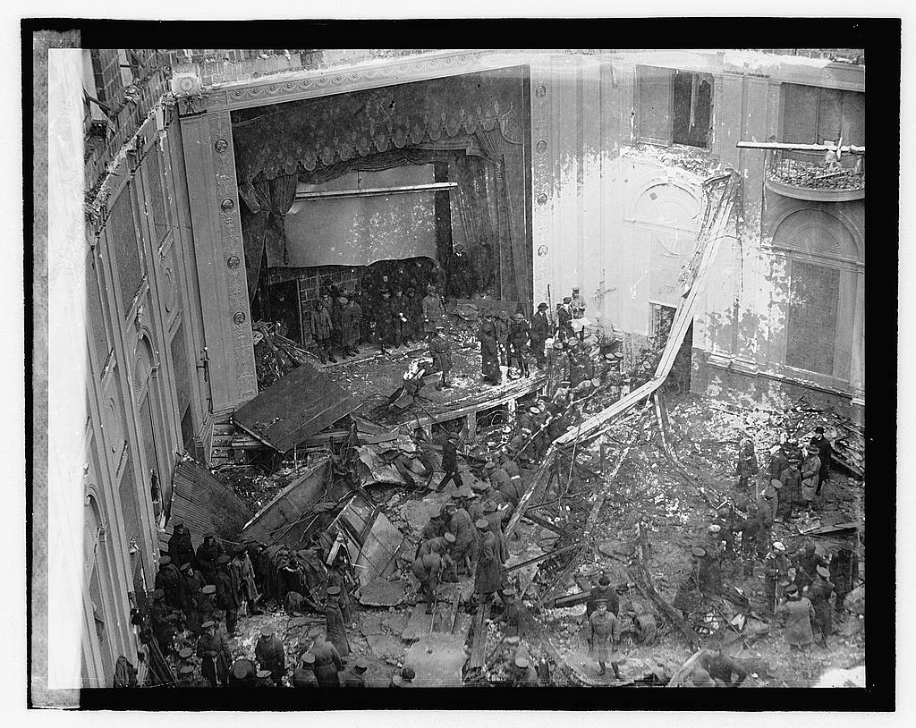 The collapsed roof of the Knickerbocker, 1922