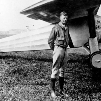 Charles Lindbergh with his plane, the Spirit of St. Louis