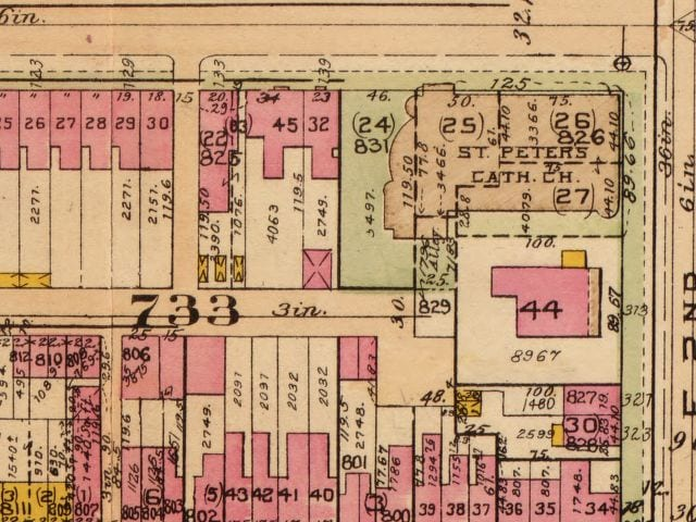 1921 map of 2nd and C St. SE