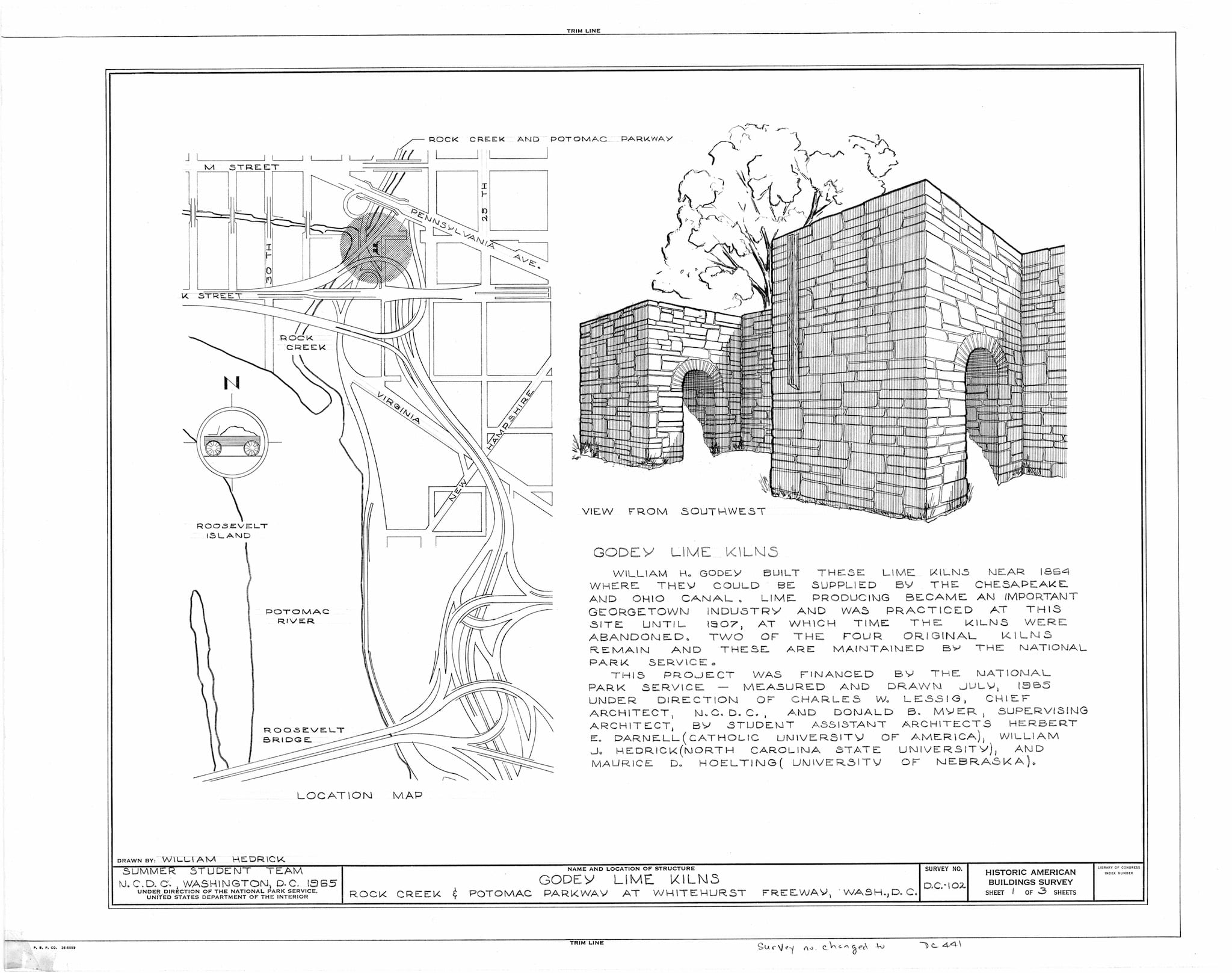 HABS DC,WASH,168- (sheet 1 of 3) - Godey Lime Kilns (Ruins), Junction of Rock Creek & Potomac Parkway, Washington, District of Columbia, DC
