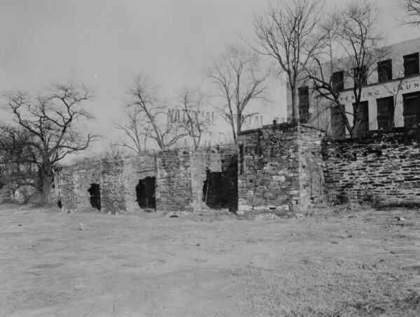 Historic American Buildings Survey Photographer unknown, c. 1938 EXTERIOR FROM SOUTH Copied from print in files of National Capital Region, National Park Service, Washington, D. C. - Godey Lime Kilns (Ruins), Junction of Rock Creek & Potomac Parkway, Washington, District of Columbia, DC