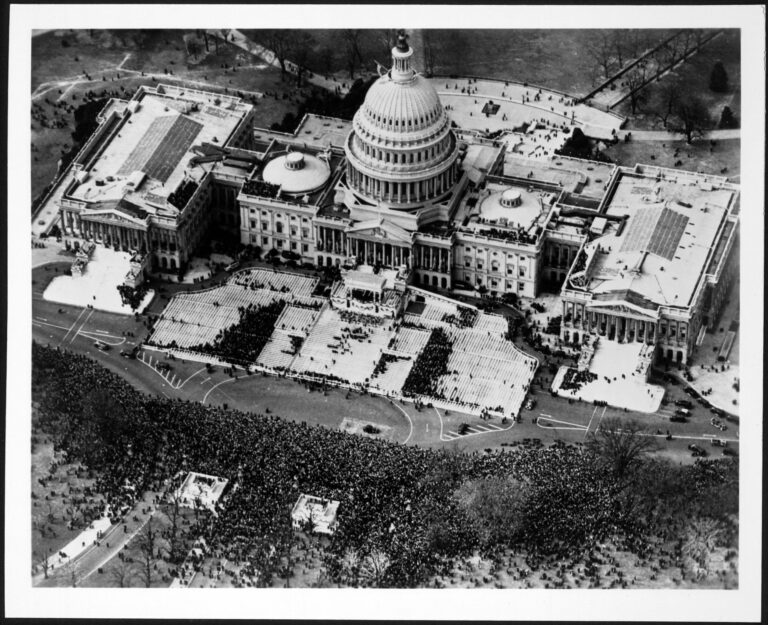 Aerial view of U.S. Capitol and crowd on the grounds of the east front of the U.S. Capitol, during the inauguration of Franklin Delano Roosevelt, March 4, 1933