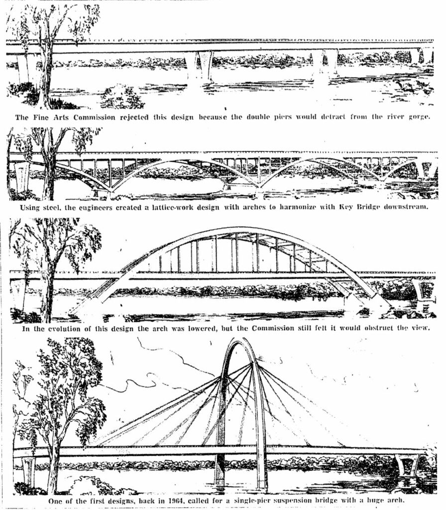 Design proposals for Three Sisters Bridge in 1967