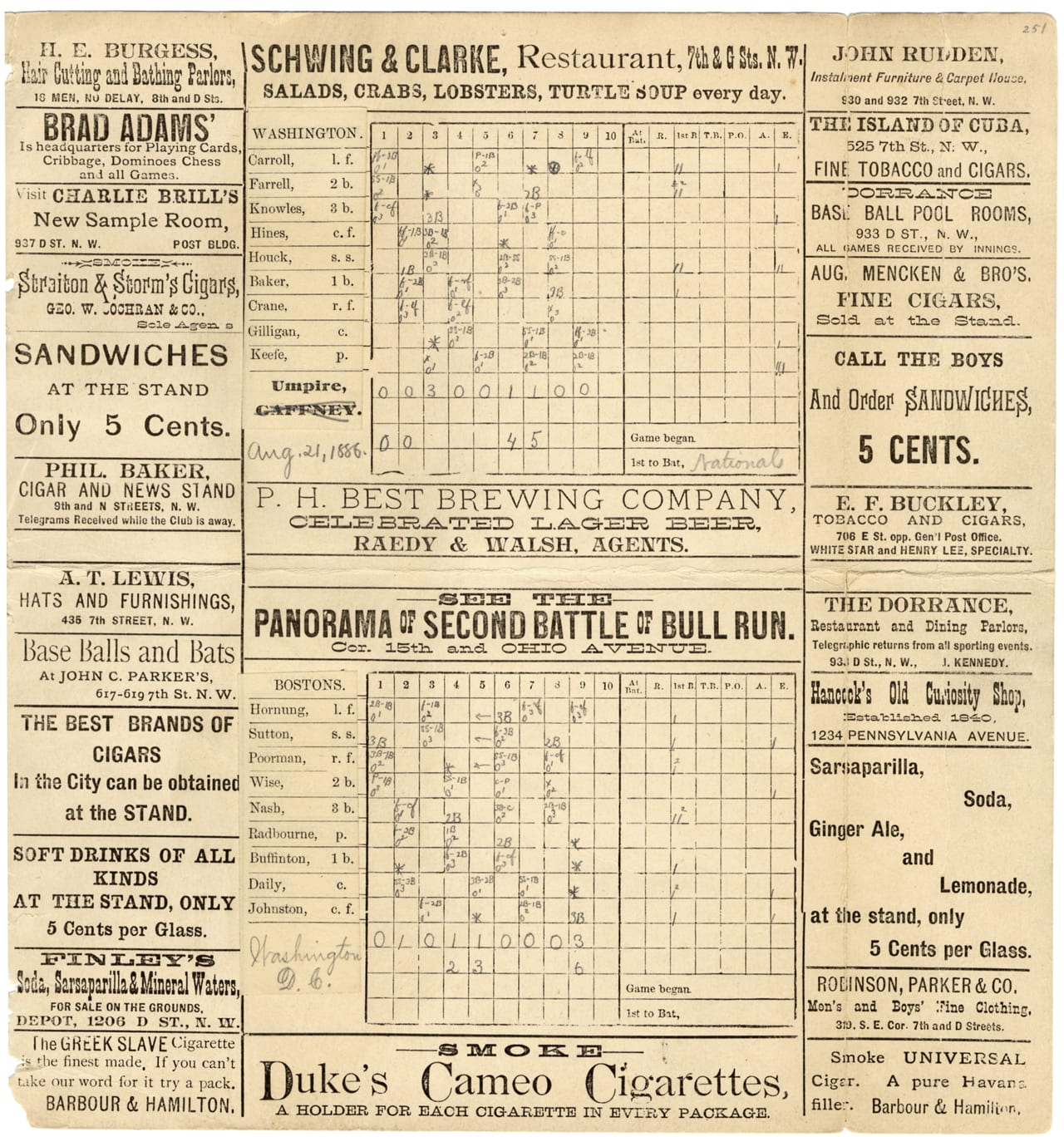 "Scorecard for 1886 baseball game between Washington Nationals and Boston Beaneaters; advertisements printed on borders of card. Printed on card: ""Washington, Bostons."" Handwritten on card: ""Washington, D.C., Aug. 21, 1886."" Penciled notations on scorecard."