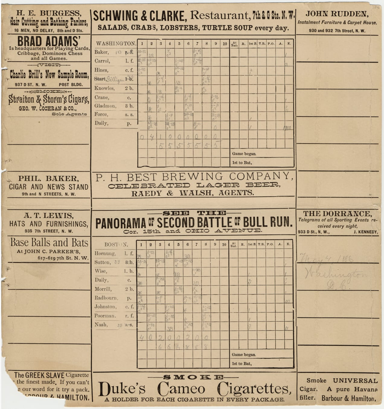 "Scorecard for 1886 baseball game between Washington Nationals and Boston Beaneaters; advertisements printed on borders of card. Printed on card: ""Washington, Boston."" Handwritten on card: ""May 4, 1886. Washington, D.C."" Penciled notations and corrections on scorecard."