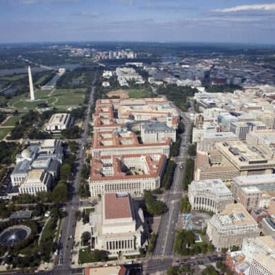 Aerial view of Pennsylvania Avenue looking west, showing Federal Triangle and the National Mall. (2006)