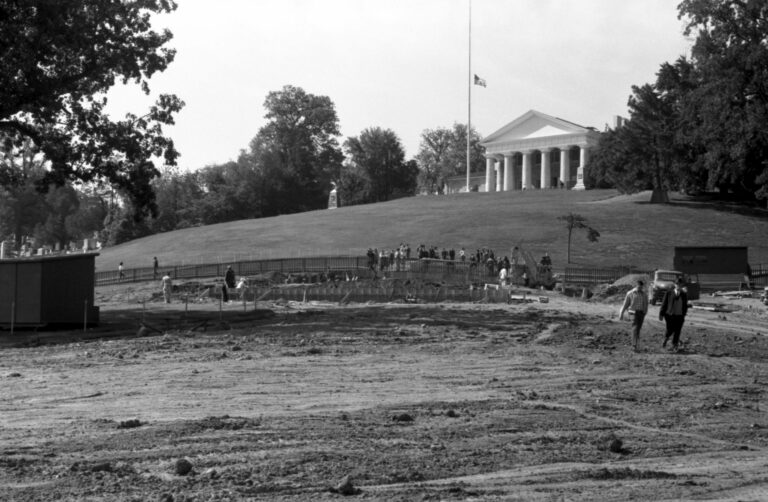The John F. Kennedy Eternal Flame memorial under construction in Arlington Cemetery, Arlington, Virginia
