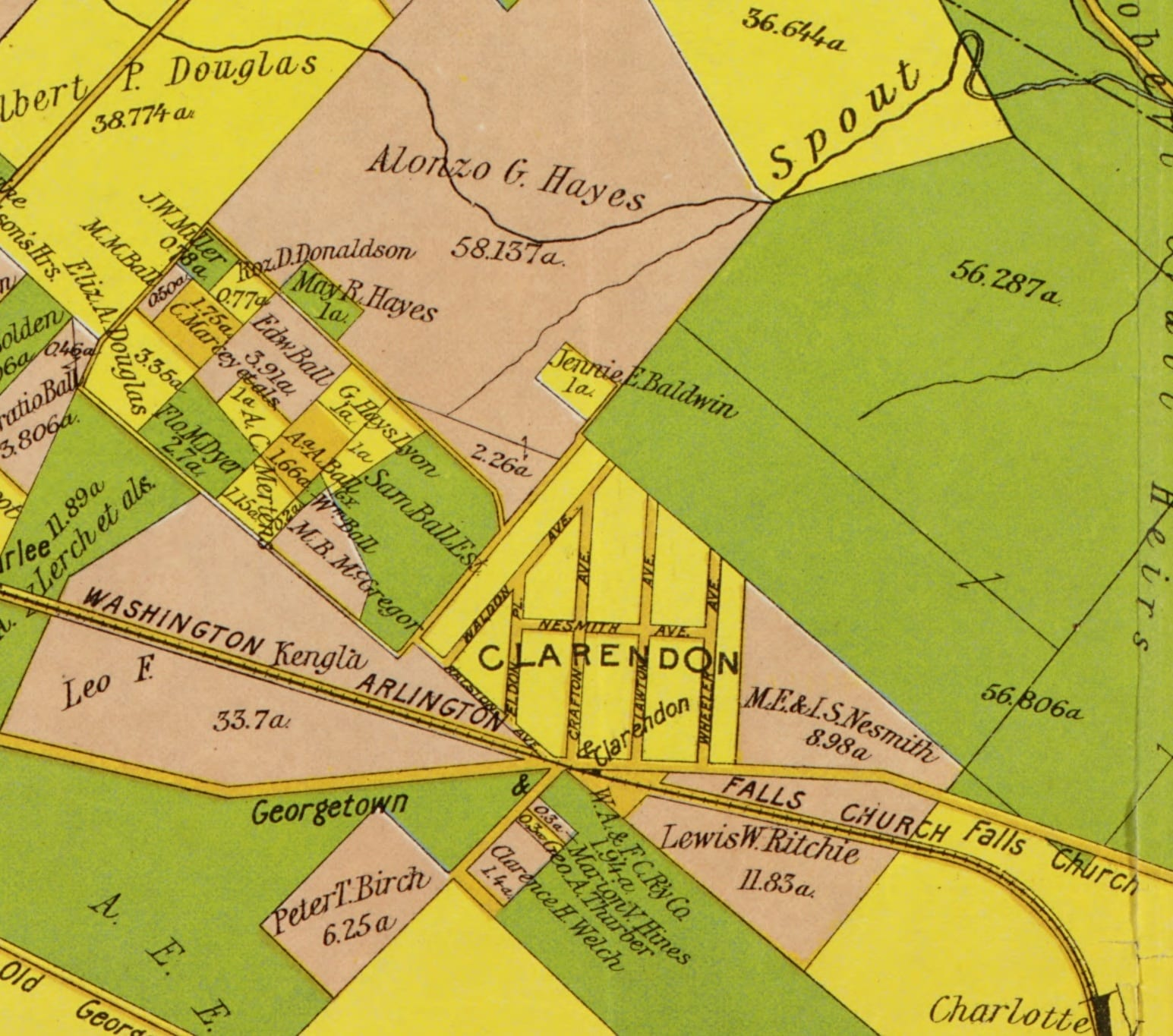 1900 Howell & Taylor map of Arlington showing early Clarendon