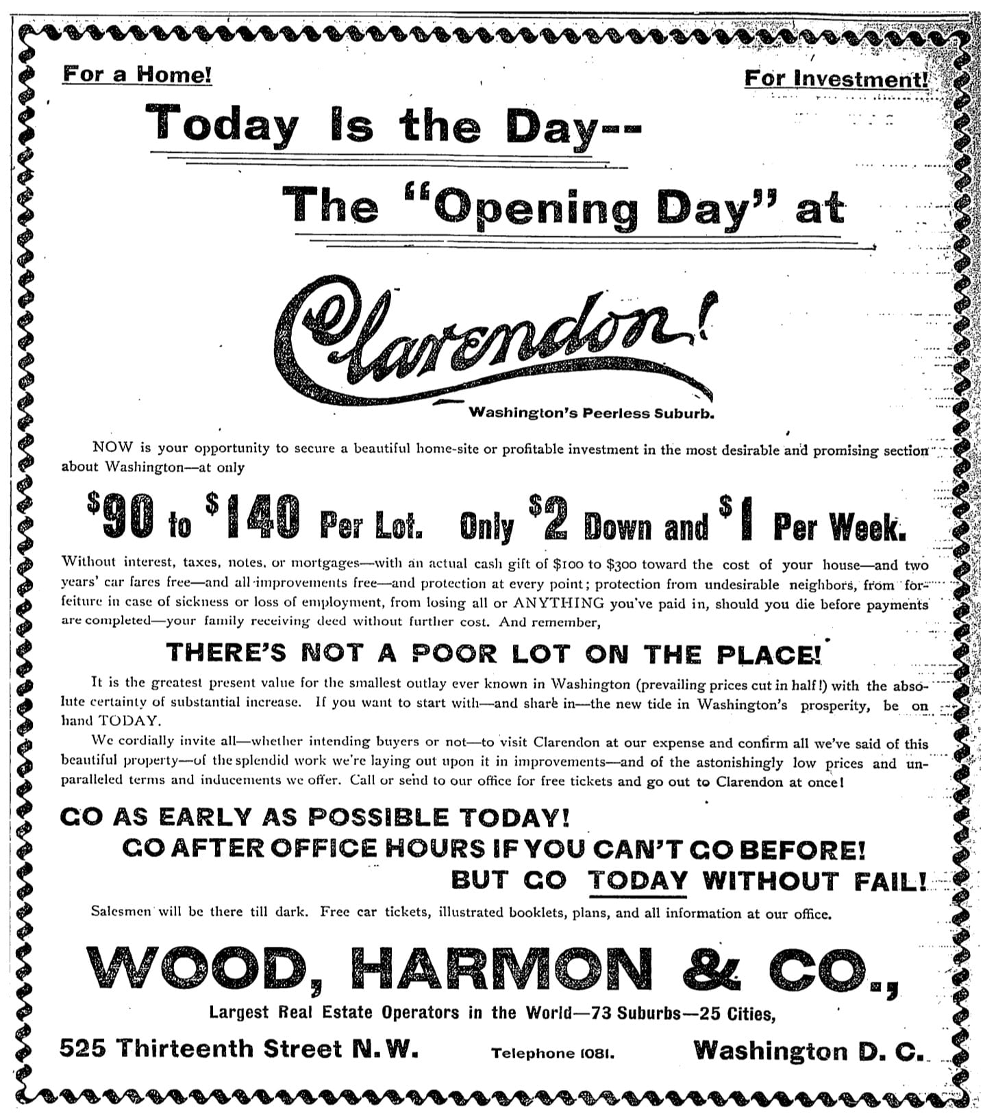Real estate advertisement for Clarendon in the Washington Post on April 23rd, 1900