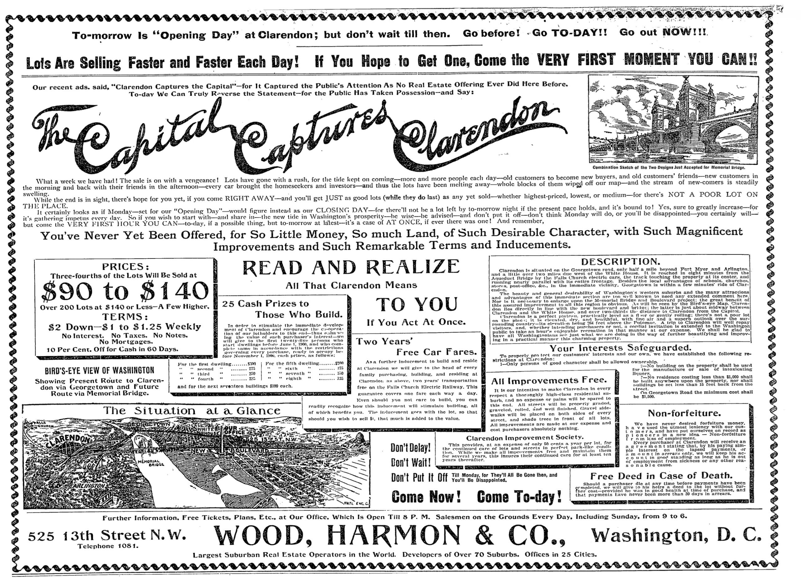 Washington Post advertisement for Clarendon real estate on April 22nd, 1900