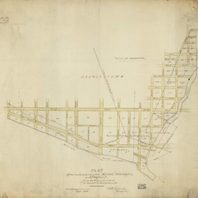 """Plat of the tracts of land called """"Mill Seat,"""" """"Philadelphia,"""" and """"Frogland,"""" from the original patents as located in Georgetown D.C. / B.D. Carpenter, surveyor."""