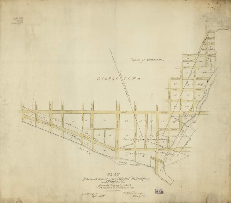 "Plat of the tracts of land called ""Mill Seat,"" ""Philadelphia,"" and ""Frogland,"" from the original patents as located in Georgetown D.C. / B.D. Carpenter, surveyor."